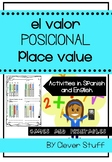 Place Value game and activities in English and Spanish. El