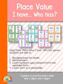 Place Value game I have who has / 3 digits & 2 digits / hundreds, tens, ones