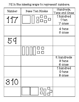 Place Value handout