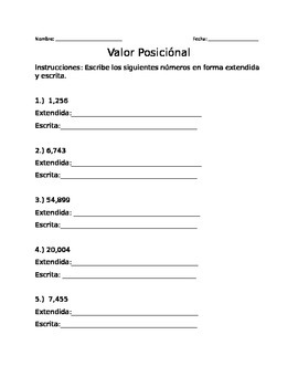 Place Value in Spanish