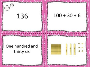 Place Value matching cards activity / game with three digit numbers