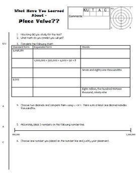 Place Value math unit test - assessment