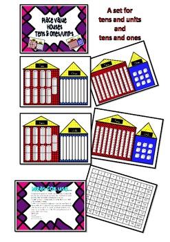 Place Value mats & game Tens & Ones /Units Bundling sticks MAB /Base Ten Blocks