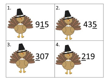 Place Value of 3 Digit Numbers---Thanksgiving Theme