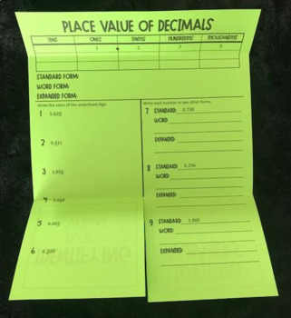 Place Value of Decimals (Foldable)