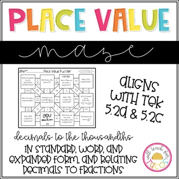 Place Value of Decimals to the Thousandths Maze