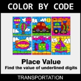 Place Value of Underlined Digit - Color by Code - Transportation