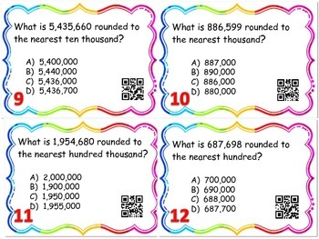 Place Value of Whole Number Through the Millions Task Cards with QR Codes
