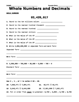 place value of whole numbers and decimal worksheet  tpt