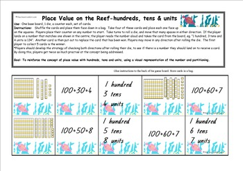 Place Value on the Reef 100s, 10s & 1s - Maths Game