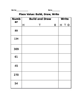 Place Value- ones, tens, hundreds