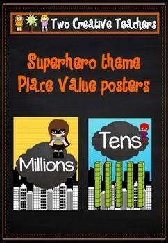 Place Value posters - Superhero Theme