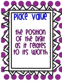 Place Value posters with examples