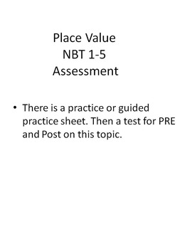 Place Value practice, pre and post test