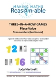 Place Value - teen numbers using ten-frames 3-in-a-row game