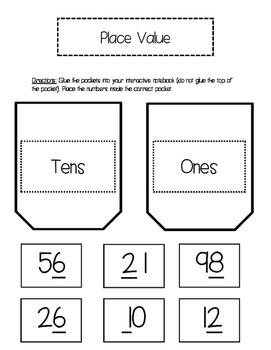 Place Value (tens and ones) Interactive Notebook Pockets