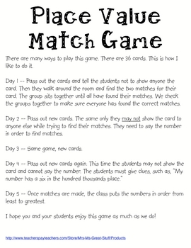 Place Value through Millions Match Game