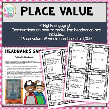 Place Value to 1,000  - Headbands Place Value Game