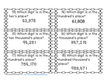 Place Value to 1 Million Task Cards