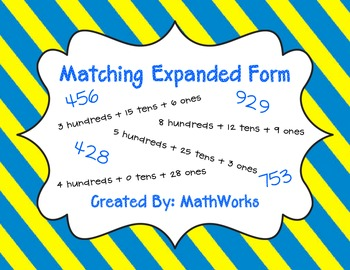 Expanded Form to 1000 Matching Game