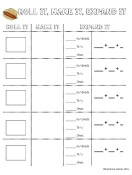 Place Value to 1000 Roll It, Make It, Expand It