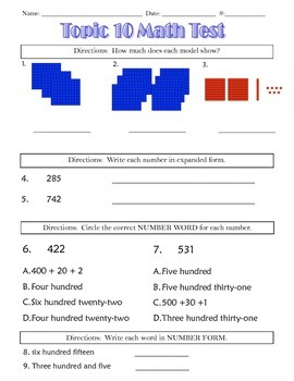 Envision Topic 10- Place Value to 1,000 Test