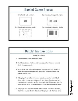 Place Value to 120 - Battle! Game