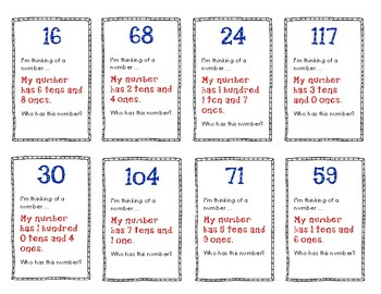 """Place Value to 120 Game: """"I'm Thinking of a Number"""""""