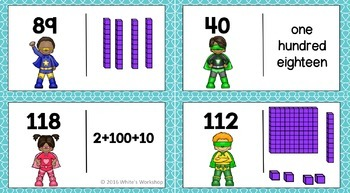 Place Value to 120 Task Cards and Dominoes