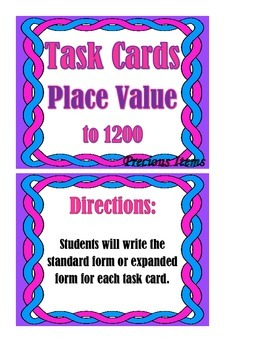 Place Value to 1200 - Task Cards