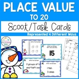 Place Value to 20 Task Cards - Kindergarten and First Grade