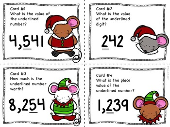 Place Value to 9,999 Task Cards - Christmas Mice - Holiday Themed