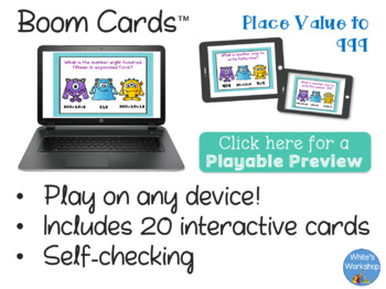Place Value to 999: Digital Task Cards, Boom Cards