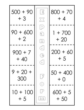 Place Value to 999 Interactive Notebook Activities