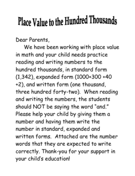 Place Value to Hundred Thousands-Help At Home (Letter to Parents)