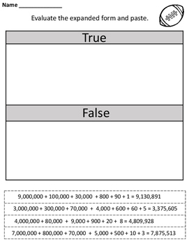 Place Value to Millions No Prep Printables