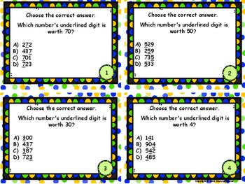 Place Value to Thousands - Identify the Value of Digits Task Cards