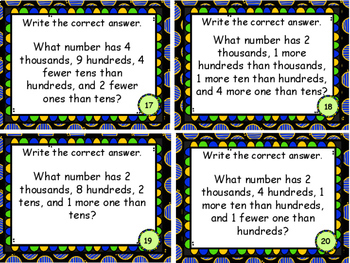 Place Value to Thousands Making Mystery Numbers Word Problems Task Cards