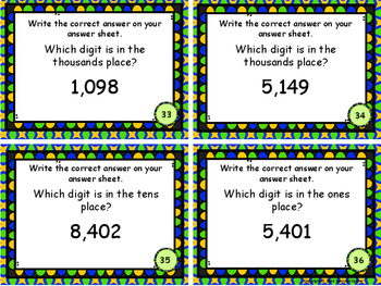 Place Value to Thousands Identify Place Task Cards