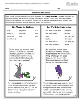 Place Value to Thousands: Using Key Words to Add or Subtract pgs. 31 - 34 (CCSS)
