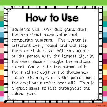 Place Value Game to the Millions