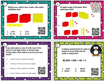 Place Value to hundred thousands QR task cards - TEKS 3.2 A-D