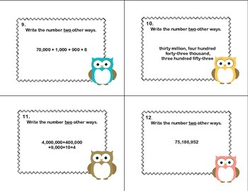 Place Value to the Hundred Millions Task Cards -Write the Numbers 2 Ways CCSS