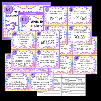 Place Value to the Hundred Thousands Place Task Cards
