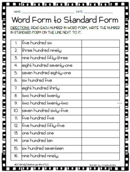 Place Value to the Hundreds Place - Word form to Standard Form Worksheet