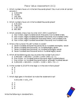 Place Value to the One Millions Place Assessment