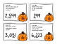 Place Value to the Thousands Place - Task Cards SCOOT - Pumpkin/Halloween Themed