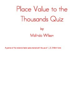 Place Value to the Thousands Quiz