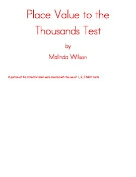 Place Value to the Thousands Test