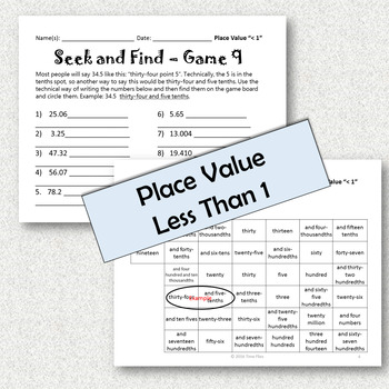 Place Value to the Thousandths Activity